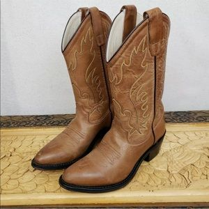 Old West Kid's Size 4 Leather Western Cowboy Boots